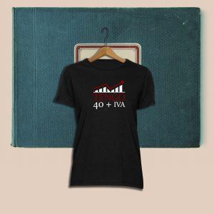 Camiseta con diseño exclusivo de Viejenials Tengo40 + IVA negra
