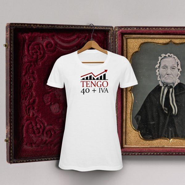 Camiseta con diseño exclusivo de Viejenials Tengo40 + IVA blanca