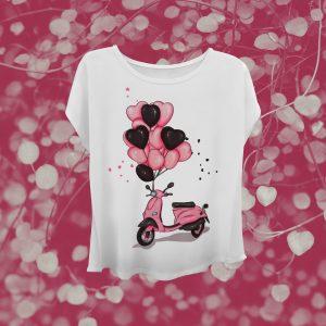 Camiseta de diseño. Pink Scooter.